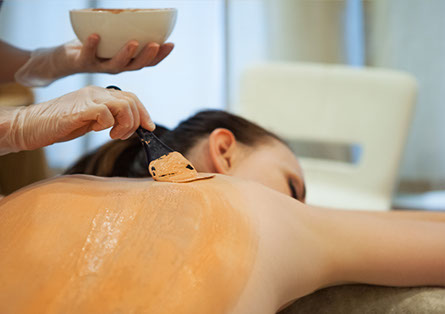 Beautiful relaxed woman having clay body mask apply by beautician in the spa salon